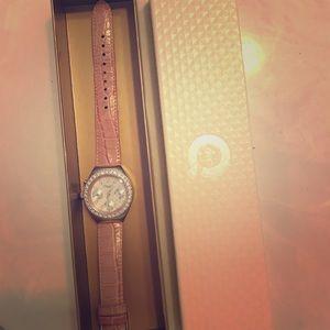 🆕NWT DMQ QVC pink leather strap qz face watch